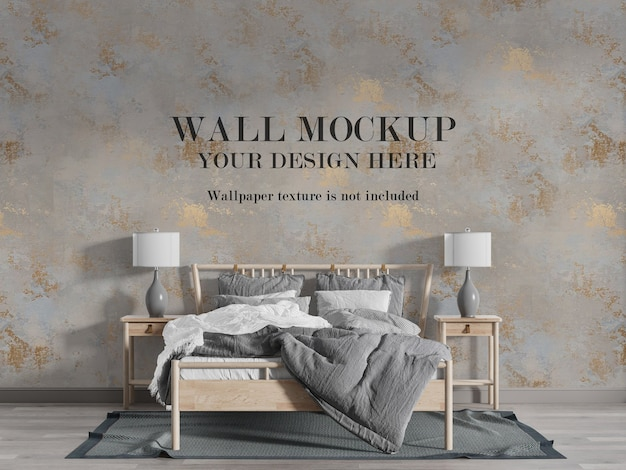Beautiful country style bedroom wall mockup
