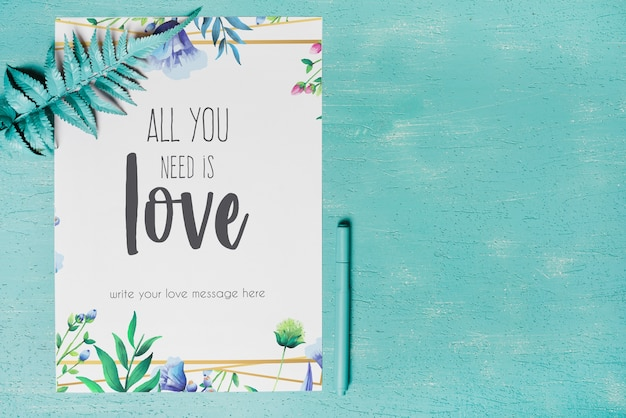 Beautiful cover mockup with floral decoration
