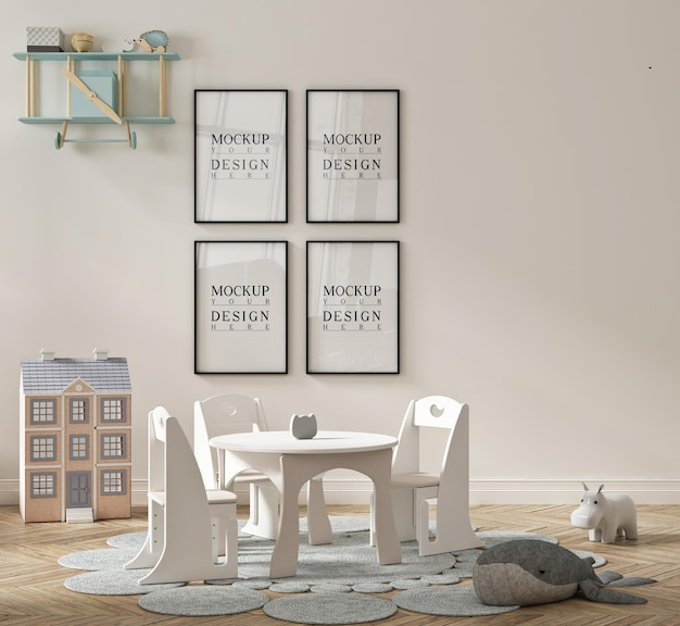 액자 모형 포스터가있는 아름다운 귀여운 유치원 교실