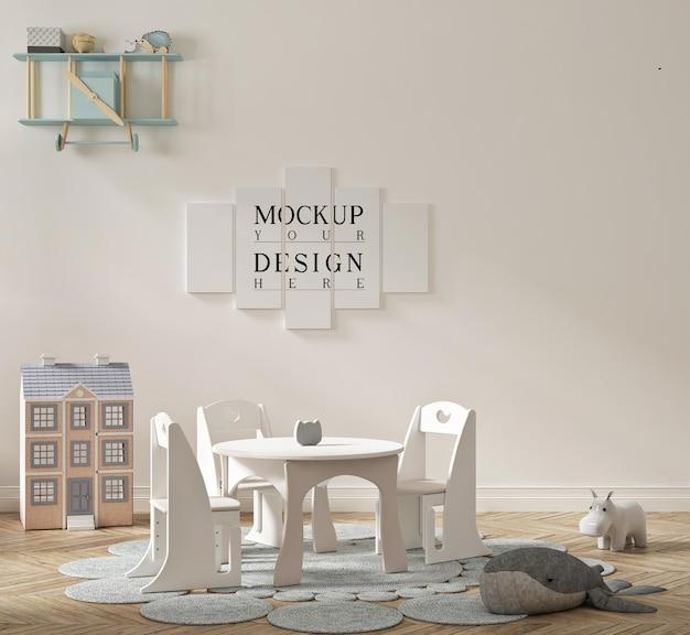 모형 포스터가있는 아름다운 귀여운 유치원 교실