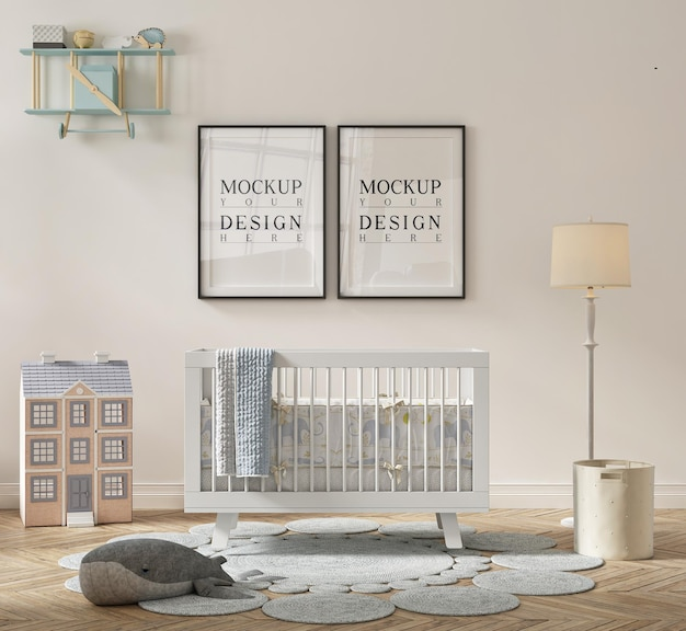 Beautiful cute nursery room with mockup poster framed