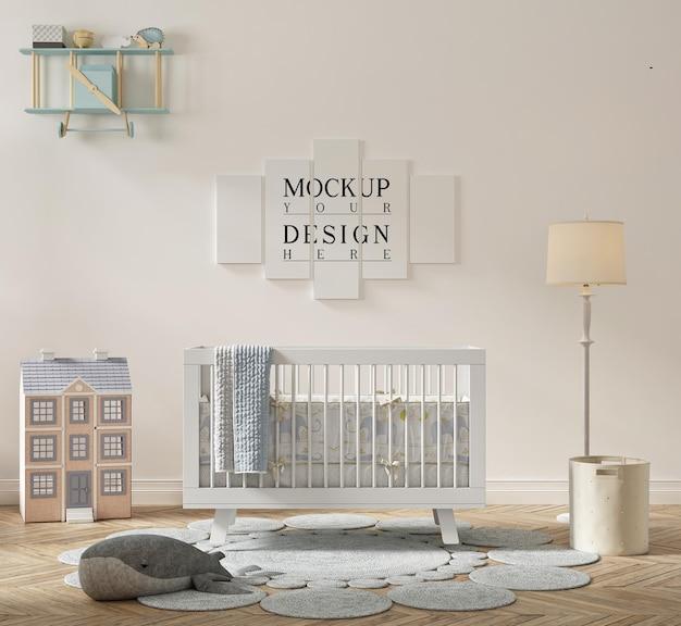 Beautiful cute nursery room with mockup poster
