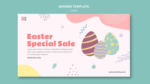 Beautiful easter day event banner template