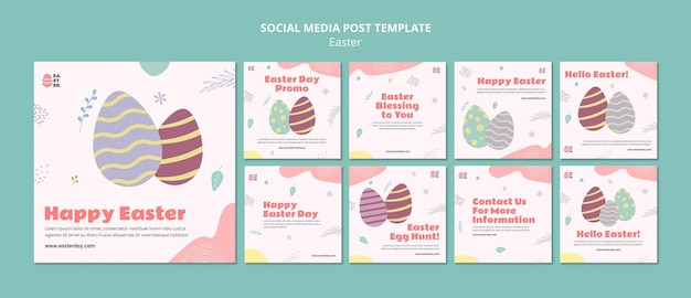 Beautiful easter day event instagram posts Premium Psd
