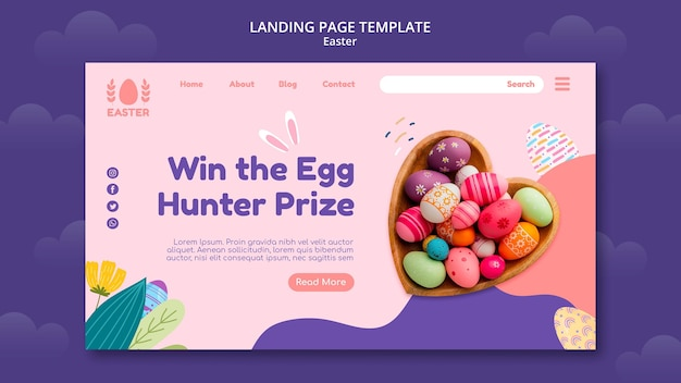 Beautiful easter day event landing page Premium Psd