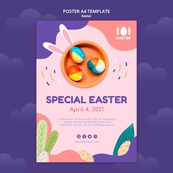 Beautiful easter day event poster template with photo