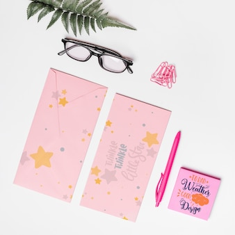 Beautiful envelope mockup with floral decoration
