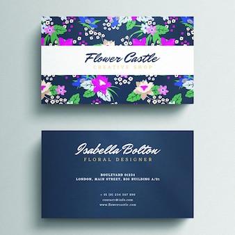 Beautiful floral business card mockup