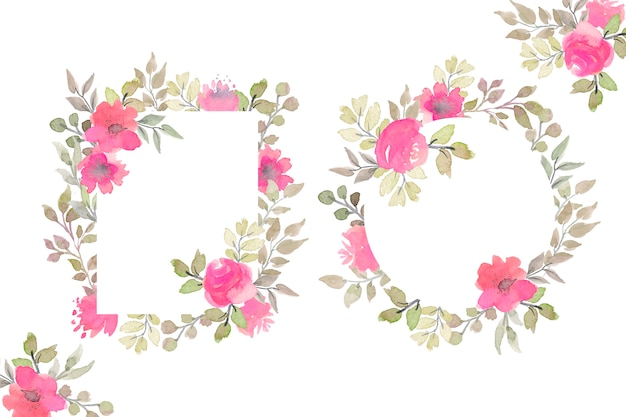 Beautiful floral frames with watercolor flowers