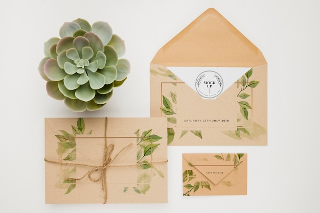 Beautiful floral invitation concept mock-up