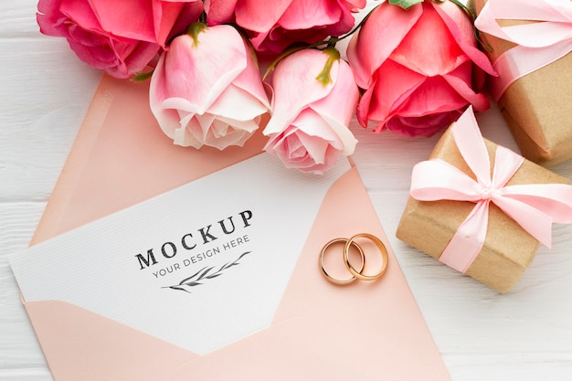 Beautiful floral wedding concept mock-up