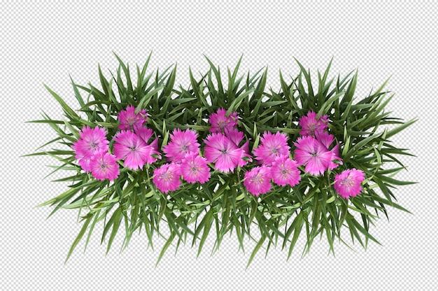 分離された花瓶3dレンダリングの美しい花