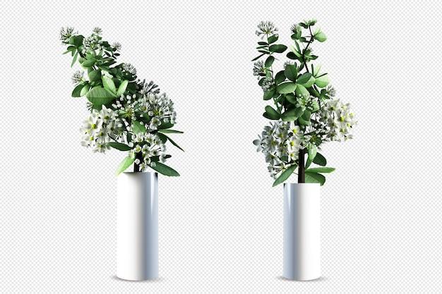 花瓶の美しい花3dレンダリング分離