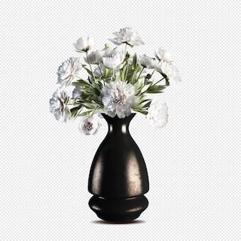 고립 된 꽃병 3d 렌더링에 아름 다운 꽃