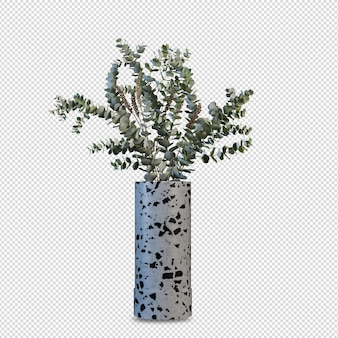 Beautiful flowers in vase 3d rendering isolated