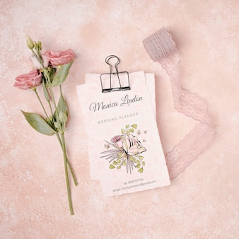 Beautiful flowers with wedding invitation