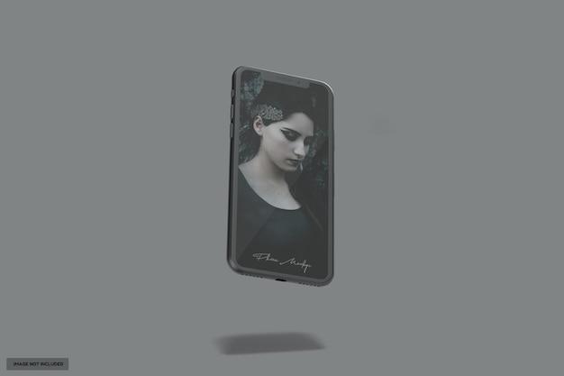 Красивый летающий черный глянцевый макет телефона