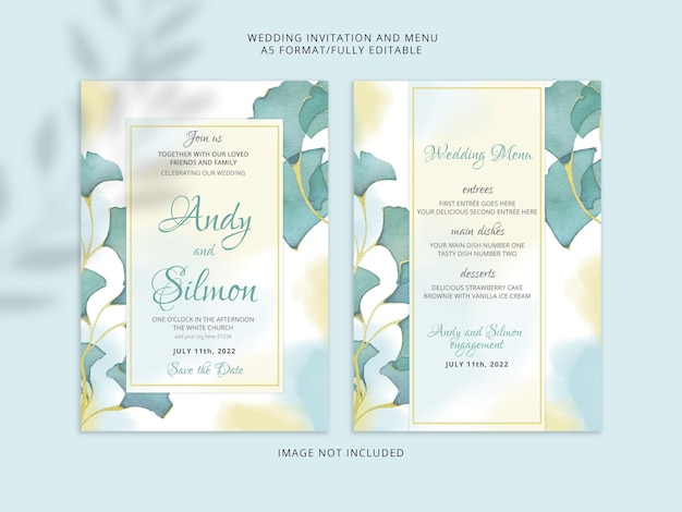 Beautiful hand drawing floral wedding invitation premium psd