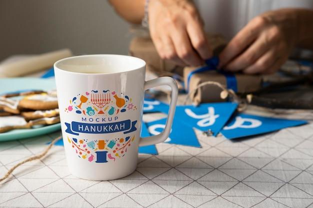 Beautiful hanukkah concept mock-up