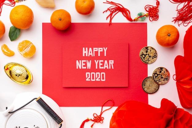 Beautiful happy chinese new year mock-up