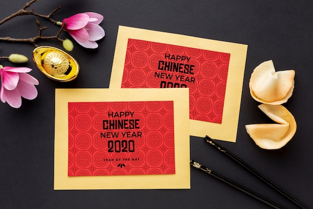 Beautiful happy chinese new year mock-up