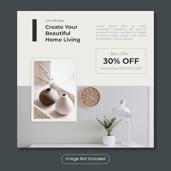 Beautiful home living instagram post banner template