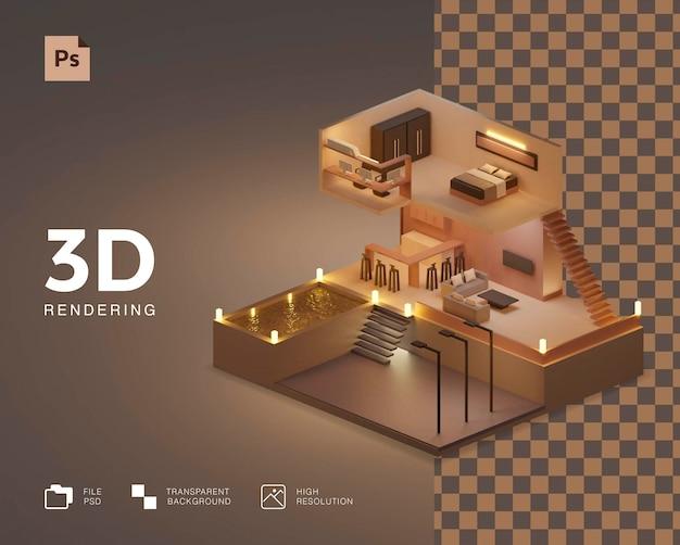 Красивая иллюстрация изометрического дизайна дома