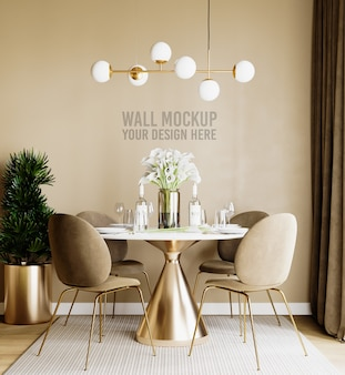 Beautiful interior dining room wall mockup