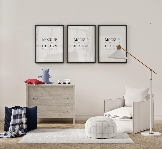 Beautiful interior of kids bedroom with arm chair sofa and mockup poster