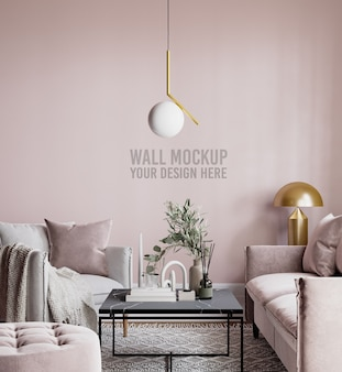 Beautiful interior living room wall mockup