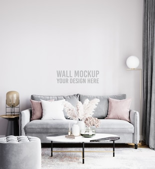 Beautiful interior living room wall mockup