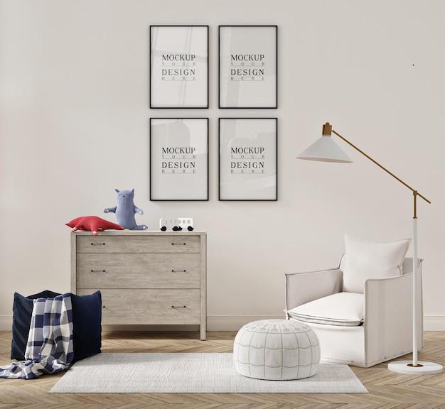 안락 의자 소파와 모형 포스터가있는 아이 침실의 아름다운 인테리어