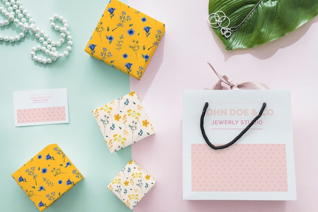 Beautiful jewelry and packaging mockup concept