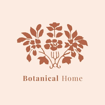 Beautiful leaf logo psd template for botanical branding in brown