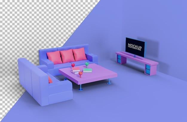 美しいリビングルームのデザインのモックアップ