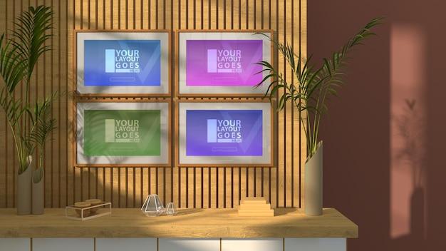 4 프레임 모형이있는 아름다운 거실