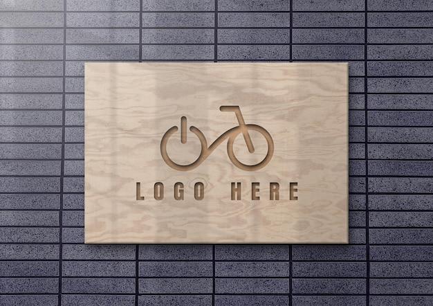 Beautiful logo mockup design wooden wall