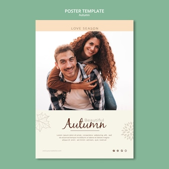 Beautiful love couple in autumn poster template