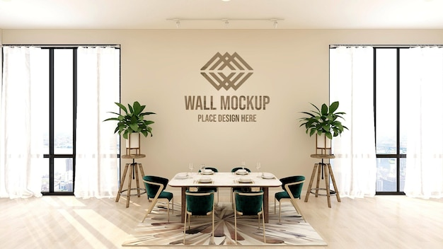 Beautiful luxury 3d text or logo mockup on restaurant wall