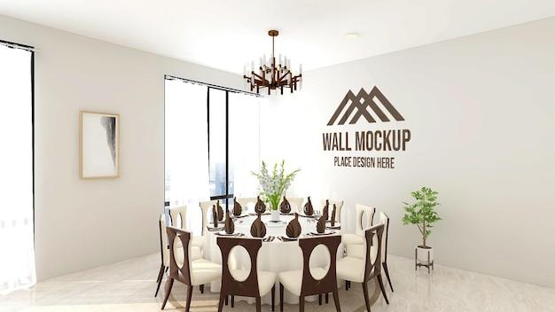 라운드 테이블이있는 레스토랑의 아름다운 고급 로고 모형