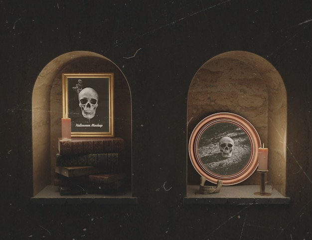Beautiful mock-up frames with skull in a cellar chamber