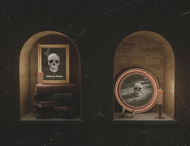 지하실 챔버에서 두개골과 아름다운 모형 프레임