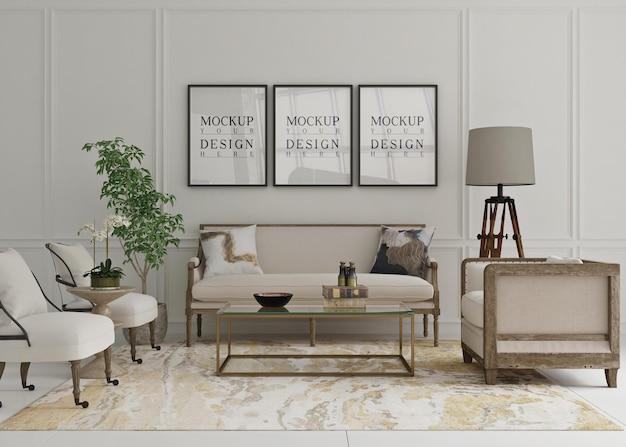 ソファ付きのクラシックなリビングルームに囲まれた美しいモックアップポスター