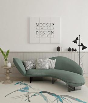 Красивый макет плаката в современной гостиной с диваном