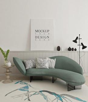 소파가있는 현대 거실에서 액자 아름다운 모형 포스터