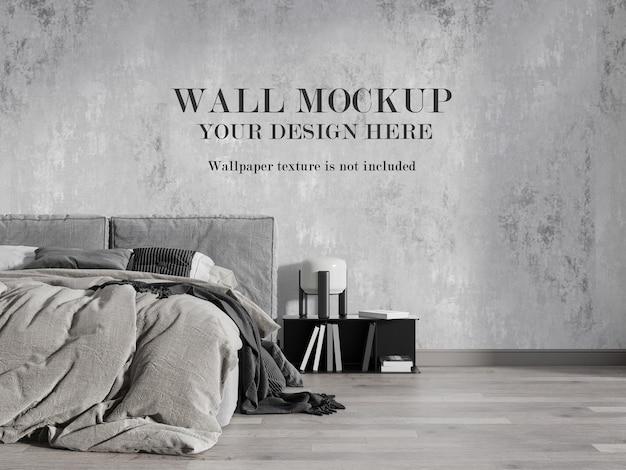 Beautiful modern bedroom wall mockup