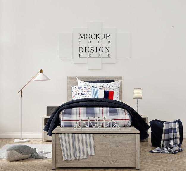 ポスターのモックアップと美しいモダンな子供の寝室