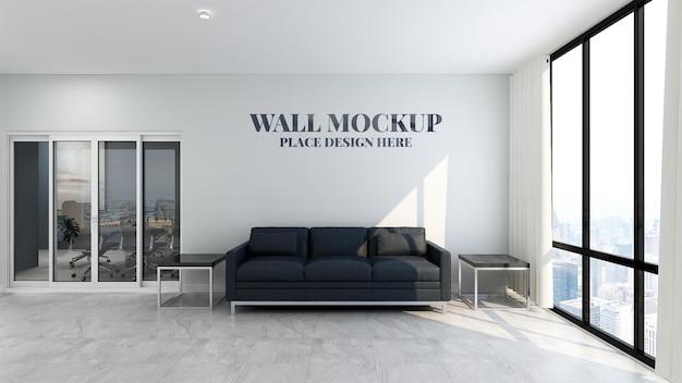 Красивый современный офисный макет стены зала ожидания с 3d визуализацией дизайна интерьера