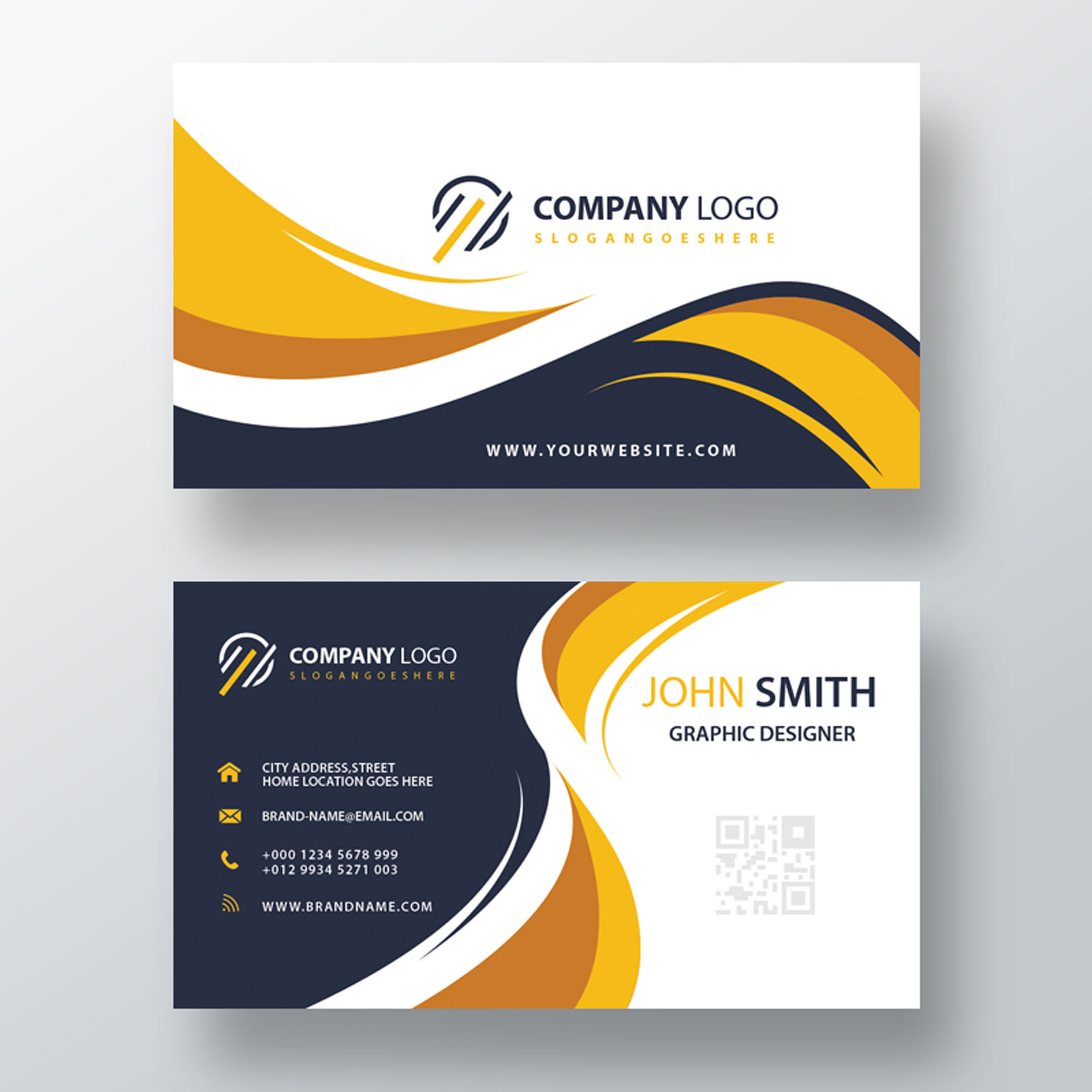 Beautiful modern yellow business card