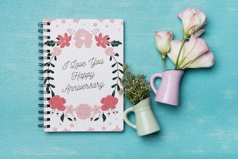 Beautiful notebook cover mockup with floral decoration